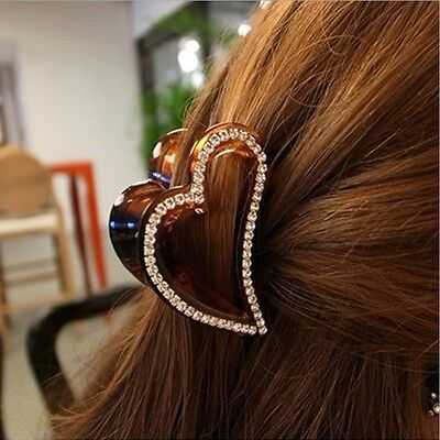Hot Fashion Korean Women Crystal Acrylic Heart Hair Clips Claws Hair Accessories
