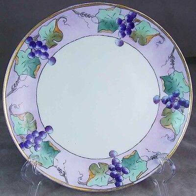 ANTIQUE Decor KPM Berlin Hand Painted PORCELAIN Plate Grape Leaf Gold