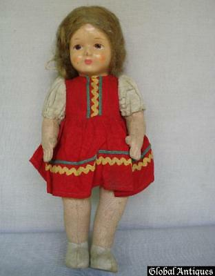 1920s ANTIQUE CHILD TOY PAPIER-MACHE RAG DOLL