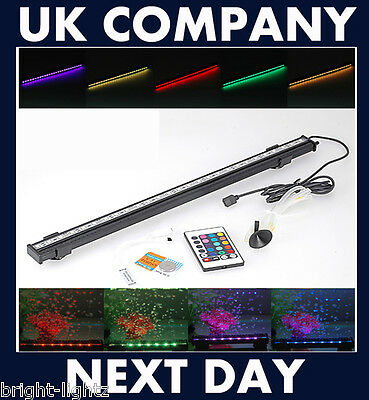 Led Aquarium Fish Tank Lights Air Stone Bubble Colour Changing Rgb 5050 Smd Uk