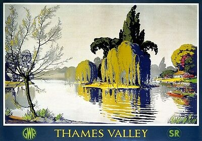 Vintage Railway Advertising  rail travel poster  A4 RE PRINT Thames Valley