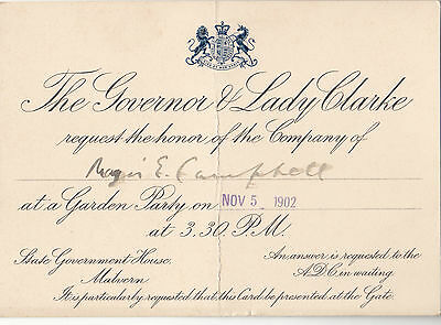 1902 Invitation by The Governor & Lady Clarke to Garden Party Major E Campbell