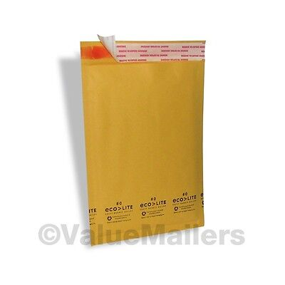 "2500 #0 6.5X10 "" Ecolite "" X- Wide Kraft Bubble Mailers Padded Envelopes Bags"
