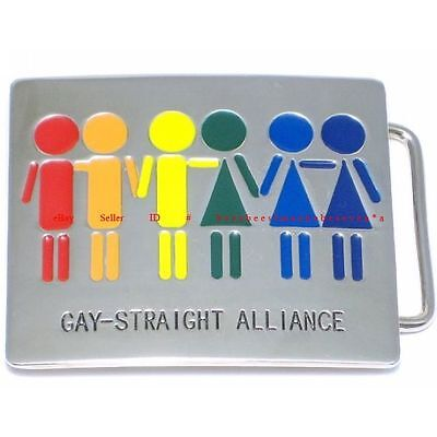 Hbu1529 Gay-Straight Alliance Gay Lesbian Bisexual Belt Buckle