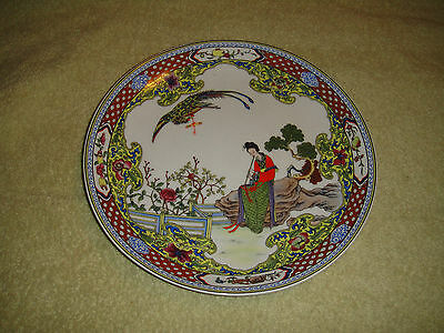 Superb Chinese Or Japanese Marked Cabinet Plate-Woman Playing Flute-Bird-Floral