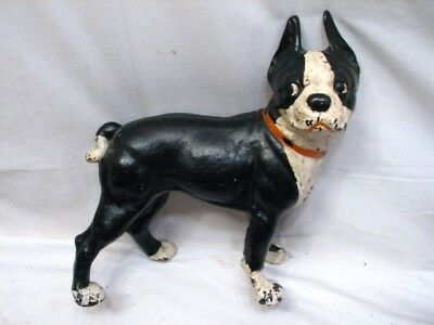 Early Cast Iron Boxer Boston Terrier Door Stop Bull Dog Doggy Doorstop Figure