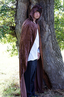 Medieval-LARP-PAGAN-SCA-GOTHIC-STEAMPUNK BROWN HOODED CLOAK 2 sizes