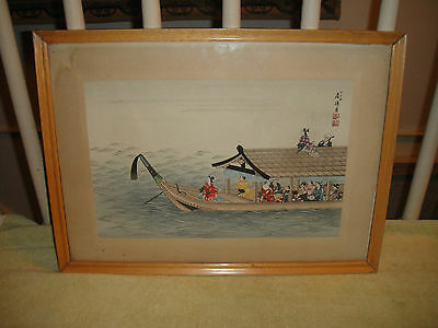 Antique Chinese Or Japanese Painting On Paper-Imachi Zuki-Waiting The Full Moon