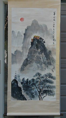 Antique Early 20C Chinese Watercolor Scroll Painting On Paper Shows A Landscape