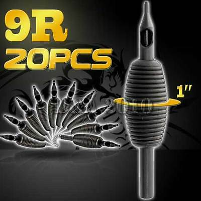 "1"" 25mm 9RT 20PCS Disposable Sterile Tattoo Grip Tube Tips Silicone Round Tip"
