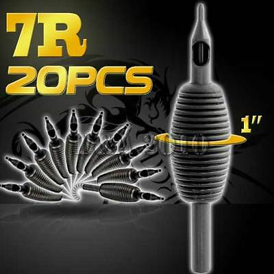 "1"" 25mm 7RT 20PCS Disposable Sterile Tattoo Grip Tube Tips Silicone Round Tip"