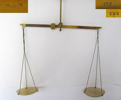 19C. ANTIQUE APOTHECARY 10g. BRONZE SCALES w/HORN CUPS – BOSCH