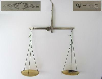 ANTIQUE MEDICAL APOTHECARY SCALES w/ HORN CUPS - PRAECISION