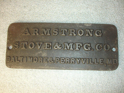 Old Vtg Antique Armstrong Cast Iron Stove & MFG Co Baltimore Perryville MD Plate