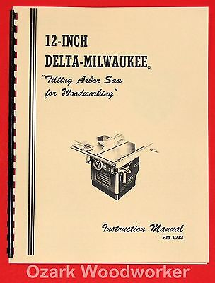 "DELTA-Milwaukee 1950's 12"" Tilting Arbor Table Saw Instructions Part Manual 0996"