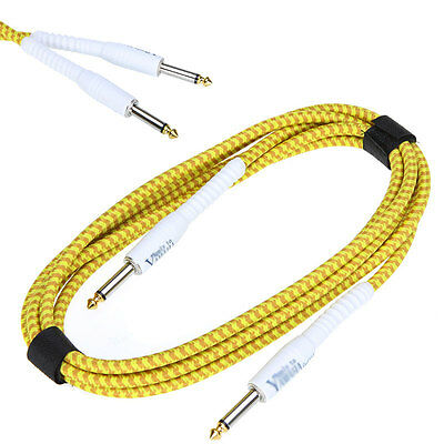 3M/10ft Guitar Cable Cord Yellow Cloth Braided Tweed For Guitar Bass