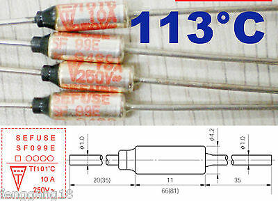 1Pcs Microtemp Thermal Fuse 113°C 113 Degree TF Cutoff SF109E 10A AC 250V New