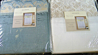 "CONTEMPORARY ""ALLISON""  WINDOW TREATMENT - EMBROIDERED 3 PIECE SET-ASSTD COLORS"