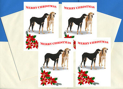 Saluki Pack Of 4 Cards Dog Print Greeting Christmas Cards