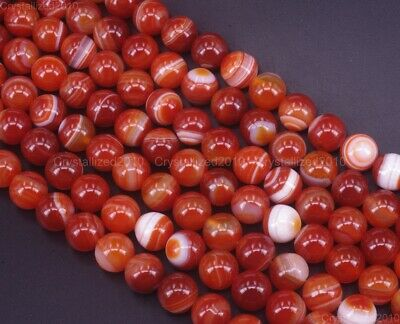Natural Orange Stripe Agate Gemstone Round Loose Beads 6mm 8mm 10mm 12mm 15.5""