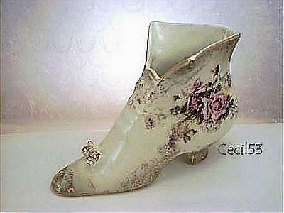 PORCELAIN VICTORIAN BOOT SHOE WITH GOLD  - SHIPS FREE