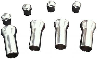 4 CHROME WHEEL VALVE TYRE DUST CAPS & 27mm STEM COVERS Ideal Xmas Gift