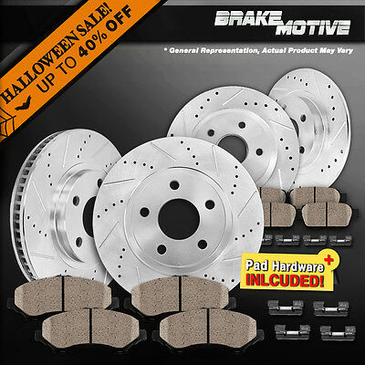 FRONT+REAR 4 PERFORMANCE DRILLED SLOTTED BRAKE ROTORS AND 8 CERAMIC PADS M640819