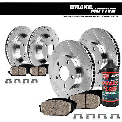 FRONT+REAR 4 PERFORMANCE DRILLED SLOTTED BRAKE ROTORS AND 8 CERAMIC PADS M640551