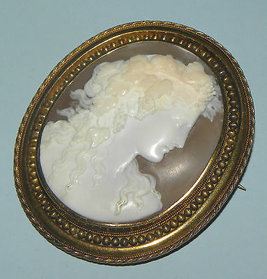 Antique Victorian Gold & Hand Carved Shell Cameo Portrait Beauty Brooch Pin