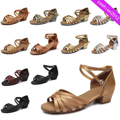 Brand New Women Children Girl's Ballroom Latin Tango Dance Shoes heeled Salsa202