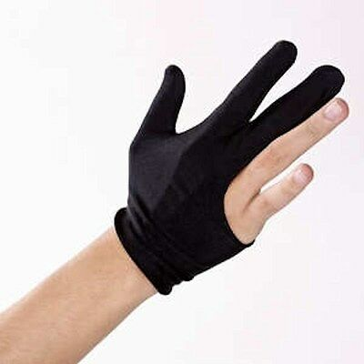 The Pro Billiard Pool Shooters 3 Finger Glove Black. left or right hand