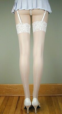 SHEER LACE TOP Thigh High BACK SEAM Stockings WHITE O/S