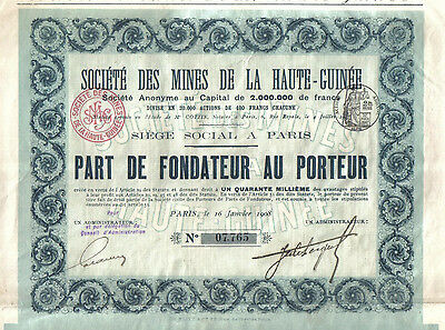 Africa France 1908 Gold Mines Haute Guinee Upper Guinea Uncancelled coupons
