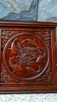 Antique Early 20C Chinese Camphore Wood Hand Carved Of Five Goldfish Wall Plaque