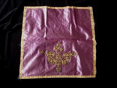 Antique Armenian Silk And Gold Embroidered Pillow Case