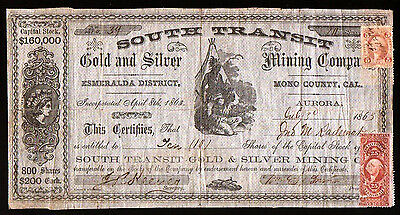 1863 Aurora California South Transit Gold & Silver Mining Stock Certificate RARE