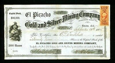 El Picacho Gold & Silver Mining Co 1864 Nevada City California Stock Certificate