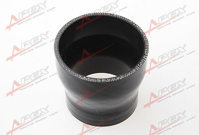 "3Ply 1.75"" To 1.5''Inch Straight Reducer 76.2mm Silicon Hose Coupler Pipe Black"