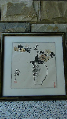 """Antique Chinese Original Watercolor On Paper Painting """"vase With Fliwers""""signed"""