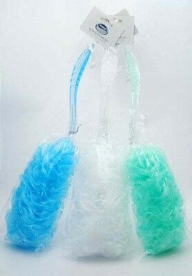 Back Bath Mesh Puff Brush Long Plastic Handle Choose White Green or Blue Athena
