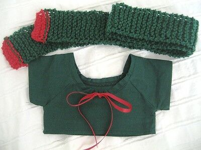 Teddy Bear Clothes, Handmade Daryl Red & Green Top & Scarf