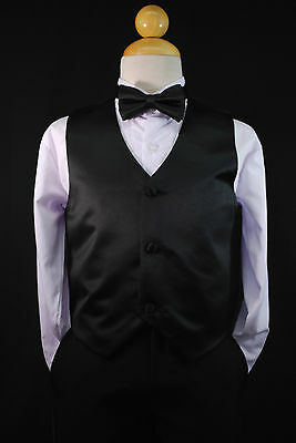 Baby Boys Toddler & Big Kids BLACK VEST + BOW TIE Suits & Tuxedo Size S - 28