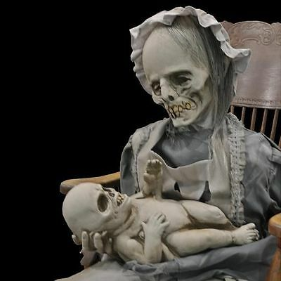 LULLABY ANIMATED PROP Haunted House Yard Realistic Moving Halloween Ghost Mom