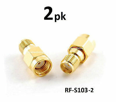 2-Pack N-Type Male to RP-SMA Reverse Polarity Female RF Adapters RF-S163-2