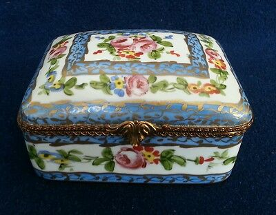 Sevres Hand Painted HInged Porcelain Jewelry Box