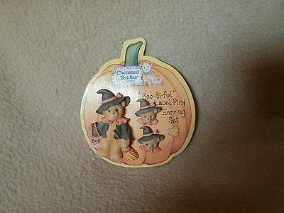 Cherished Teddies Halloween Boo-ti-ful Pin & Earring Set-1996-MOC