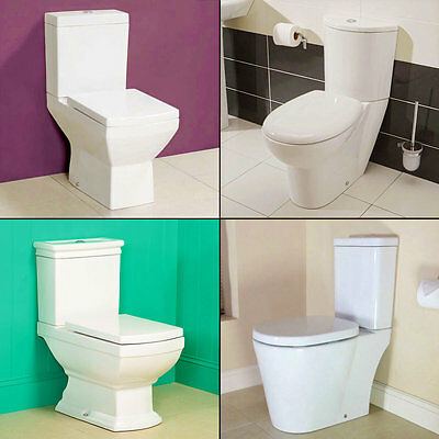 Toilet WC Bathroom Close Coupled Pan Cloakroom Soft Close Toilet Seat Ceramic