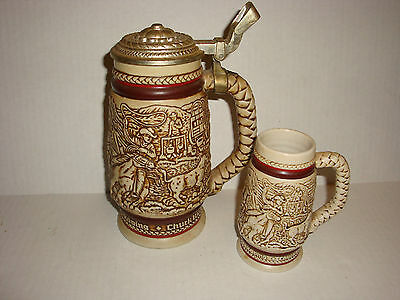 Lot of 2 Avon Collectible Steins Western Cowboys Horses Roping Cattle Drive