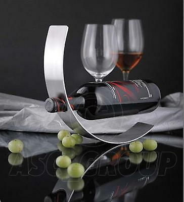 CURVED METAL Wine Bottle Holder Floating Contempory Art Rocking wine Rack New