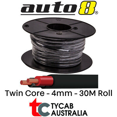 Twin Core 4mm cable / wire 30 Meter Roll suits Electric Brake, drive light,